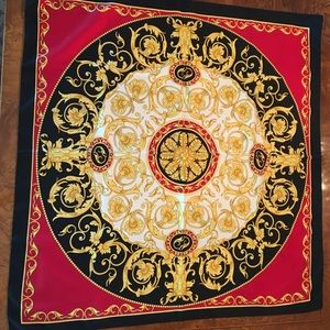 Echo silk scarf in red, black, gold, and cream